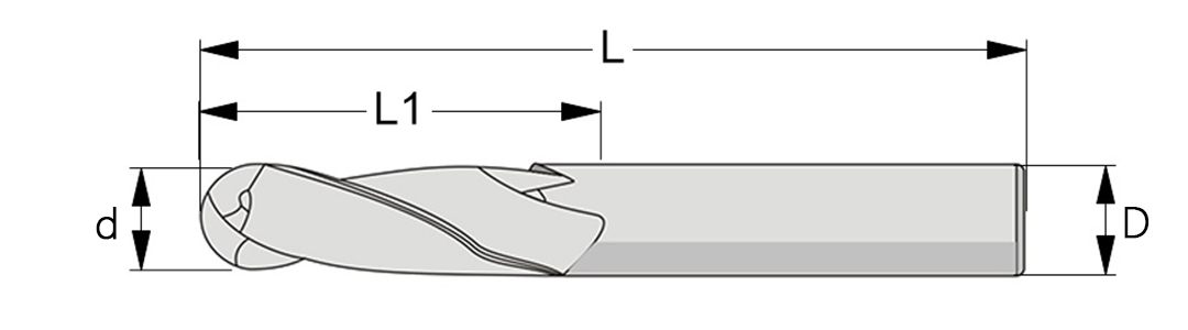 Ball nose end mill 2 flute 60HRC Schematic diagram